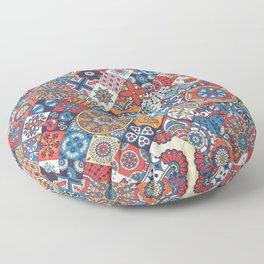 Patchwork Vector Seamless Pattern Floor Pillow