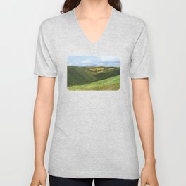 View from Ben Lawers over Loch Tay - Scotland / Oil Painting Unisex V-Neck