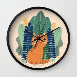 Orange Garden Cat Wall Clock