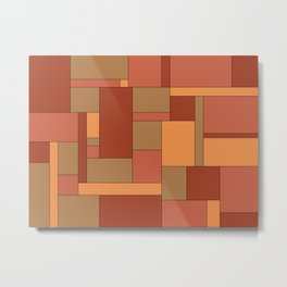 Abstract Brown Squares and Rectangles Metal Print
