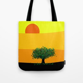 Tree in a yellow landscape Tote Bag
