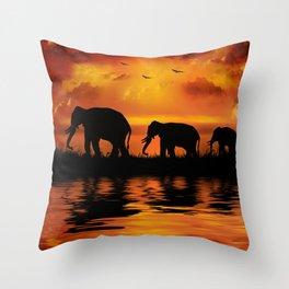 Elephant Safari Throw Pillow