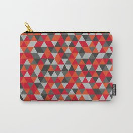 Hot Red and Grey / Gray -  Geometric Triangle Pattern Carry-All Pouch