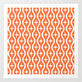 Mid century Modern Bulbous Star Pattern Orange Art Print