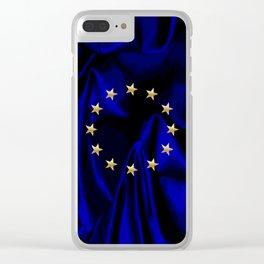 EU Silk Flag Clear iPhone Case