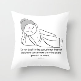 Contemplating Buddha with quote to inspire. Throw Pillow