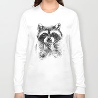 rocket raccoon Long Sleeve T-shirts featuring Surprised raccoon by Anna Shell