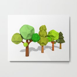 Cartoon Trees Low Poly Style Metal Print