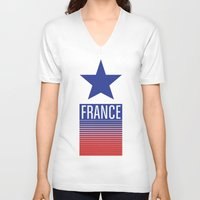 france V-neck T-shirts featuring FRANCE by Andrew O'Rourke