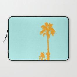 Orange palm trees silhouettes on blue Laptop Sleeve