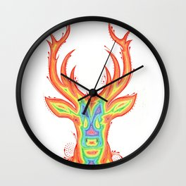 Deer Color gradient painting Wall Clock