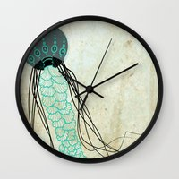 jelly fish Wall Clocks featuring Jelly Fish  by Greenwell Art