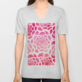 Girly hot pink watercolor abstract floral pattern  Unisex V-Neck