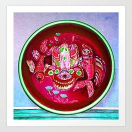 Hamsa Symbol and two Fishes Art Print