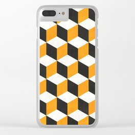 Geometric Cube Pattern  - Yellow, White, Gray Concrete Clear iPhone Case