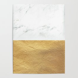 Color Blocked Gold & Marble Poster