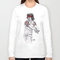 tennis Long Sleeve T-shirts featuring Tennis Mcenroe by Paul Nelson-Esch Art
