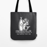 salt water Tote Bags featuring Salt Water First Aid by SKEWJACK