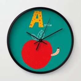A is for Apple Wall Clock