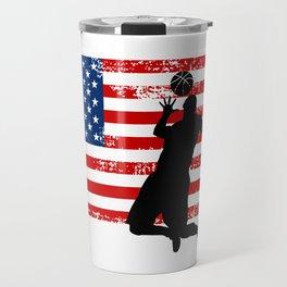 USA American Flag Basketball Basketball Player Gift Travel Mug