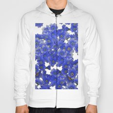 Little Blue Flowers on White Hoody