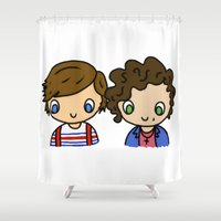 larry Shower Curtains featuring What Makes Larry Beautiful by clevernessofyou