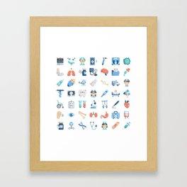 CUTE MEDICINE / SCIENCE / DOCTOR PATTERN Framed Art Print
