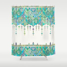 Art Deco Double Drop in Jade and Aquamarine on Cream Shower Curtain