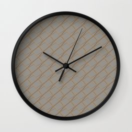 HUSK - warm gold lines on taupe linen Wall Clock