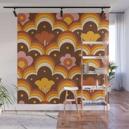 Retro 70s Flowers, Floral Pattern, Mid Century Modern Pattern Orange Brown Pink. Wall Mural