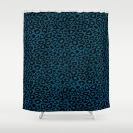 Teal Leopard Animal Pattern Shower Curtain