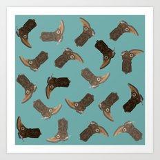 Cowboy Boots - pattern Art Print