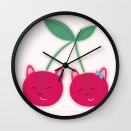 Cherry kitties Wall Clock