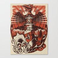 kaiju Canvas Prints featuring Kaiju Lighthouse by Nils Vögeding