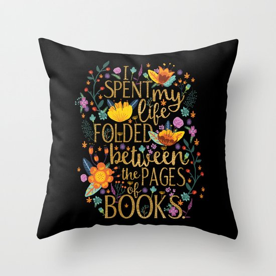 Folded Between the Pages of Books - Floral Black Throw Pillow