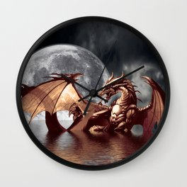 Mystical Dragon and Moon Fantasy Design Wall Clock