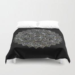 Aztec Mexican Silver Mandala Duvet Cover