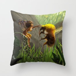 Faerie and Bee Throw Pillow