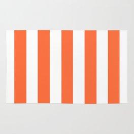 Smashed Pumpkin orange - solid color - white vertical lines pattern Rug