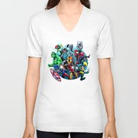 super heroes V-neck T-shirts featuring Super Heroes by Carrillo Art Studio