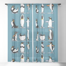 Penguin Yoga Sheer Curtain
