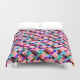 geometric pixel square pattern abstract background in pink purple blue yellow green Duvet Cover