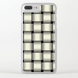 Large Beige Weave Clear iPhone Case