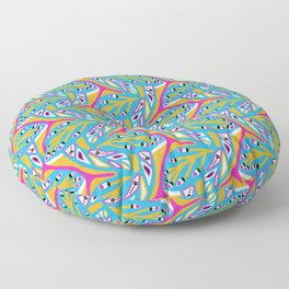 Bright Seedpods in the Wind Abstract Nature Geo Pattern in Pink , Green and Turquoise Color Palette Floor Pillow