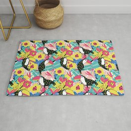 Toucan floral pattern Rug