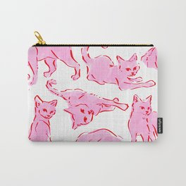Cat Crazy pink red valentine Carry-All Pouch