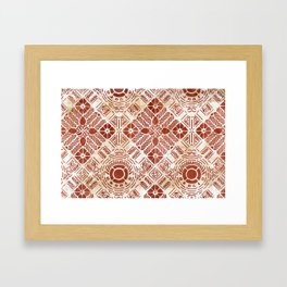 Decorative Vintage Pattern Sanguine Red Framed Art Print