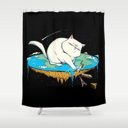 Flat Earth Cat Shower Curtain