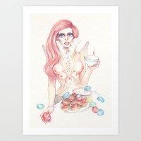 Alien Goddess Tea Time Art Print