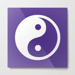 Yin and Yang - Purple & White Metal Print